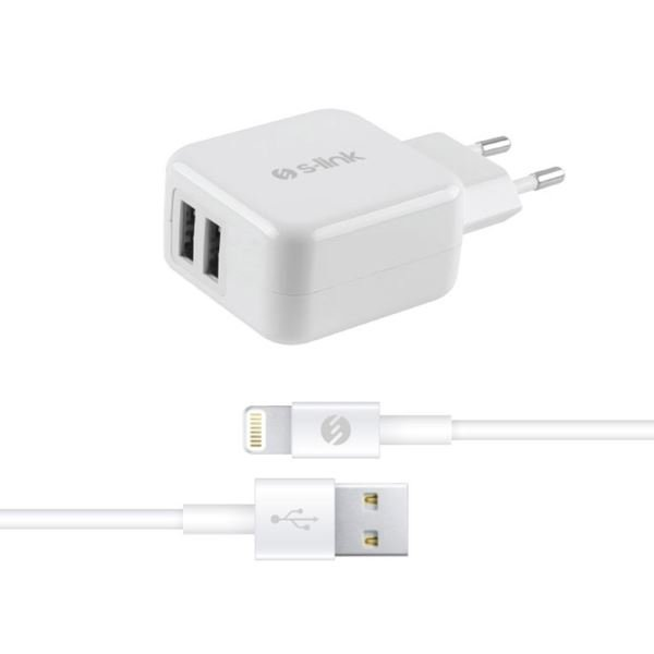 S-LİNK SWAPP IP-SW17 ÇİFT USB İPOD/İPHONE/İPAD 5V 3.1A BEYAZ EV ŞARJ ADAPTÖR